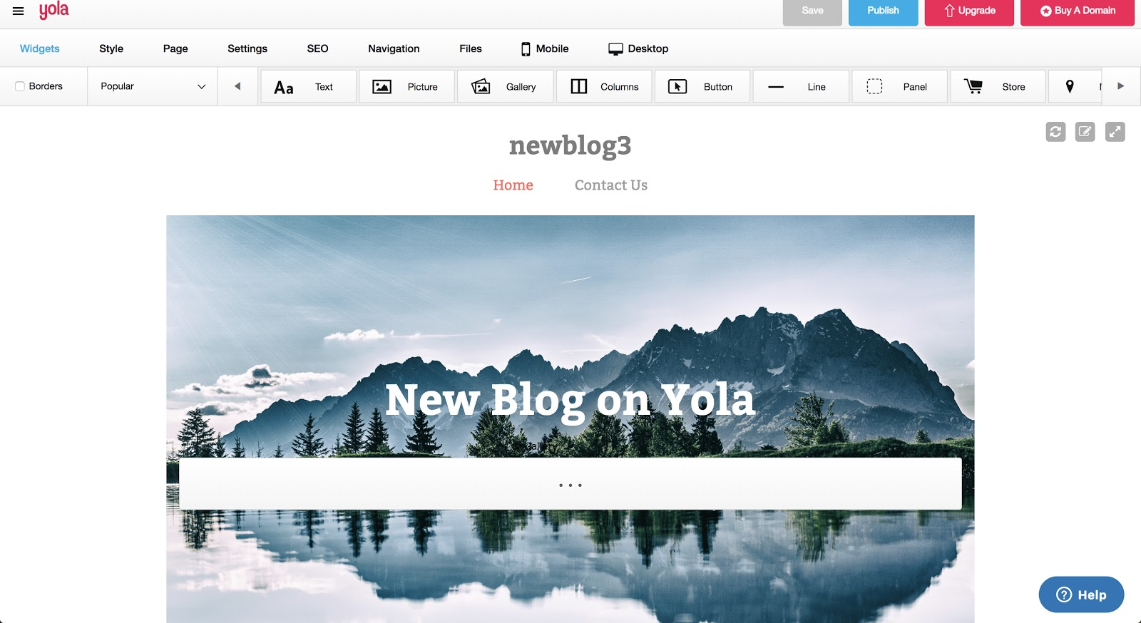 Yola Editor Screenshot of Free Blog Site in Action