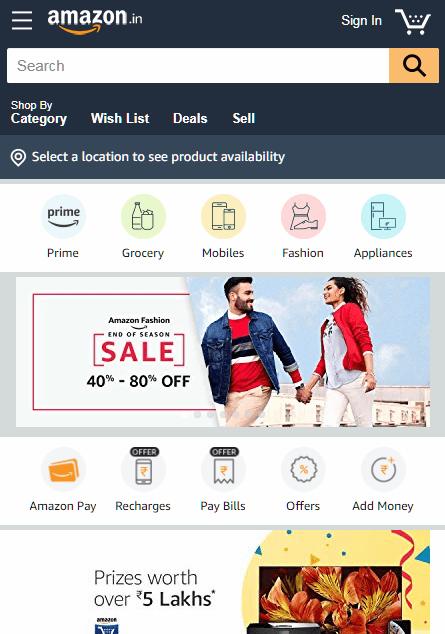Diseño de sitios web de comercio electrónico de Amazon