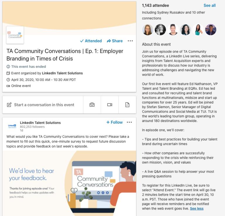 Las páginas de LinkedIn ahora pueden albergar eventos virtuales en vivo