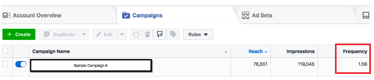 Facebook  Anuncio: descripción general de la cuenta