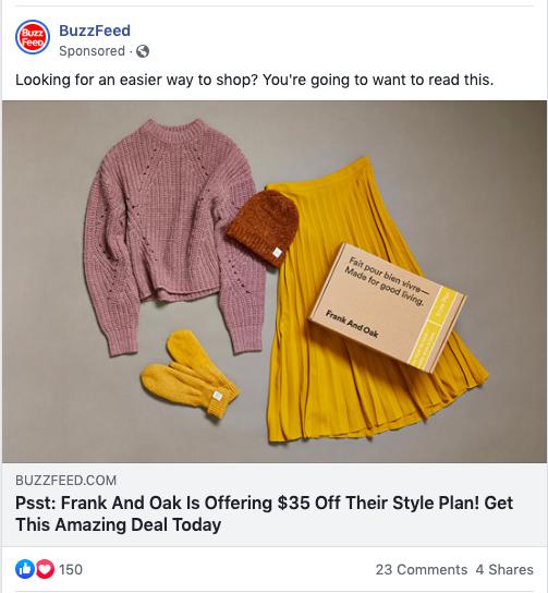 Anuncio de BuzzFeed en Facebook