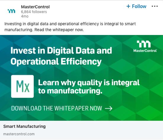 Ejemplo de anuncio de MasterControl en LinkedIn