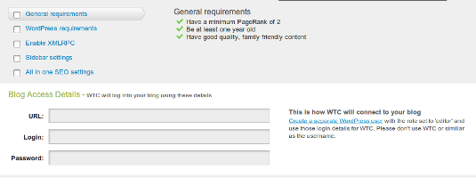 Detalles de acceso al blog de control de tráfico web