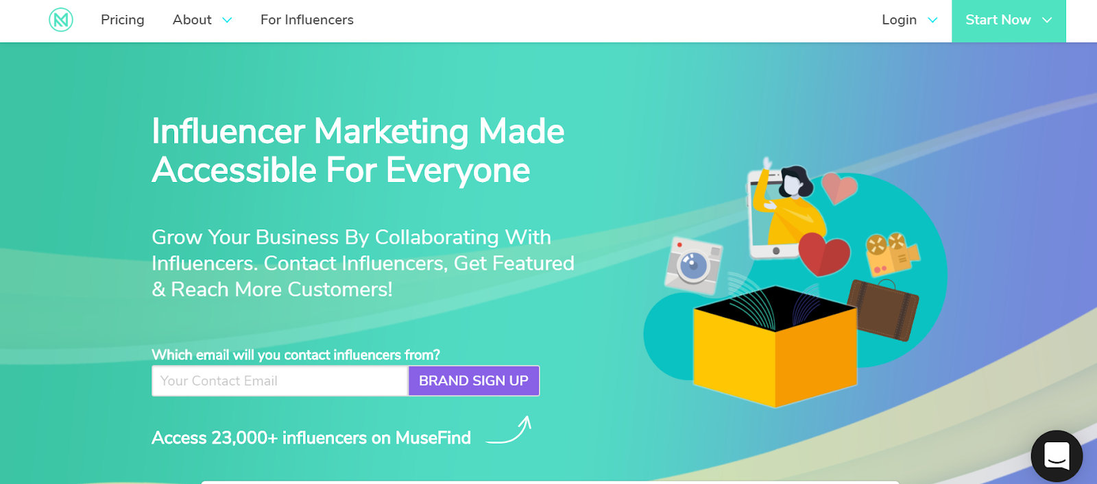 Plataforma de marketing de influencia de MuseFind