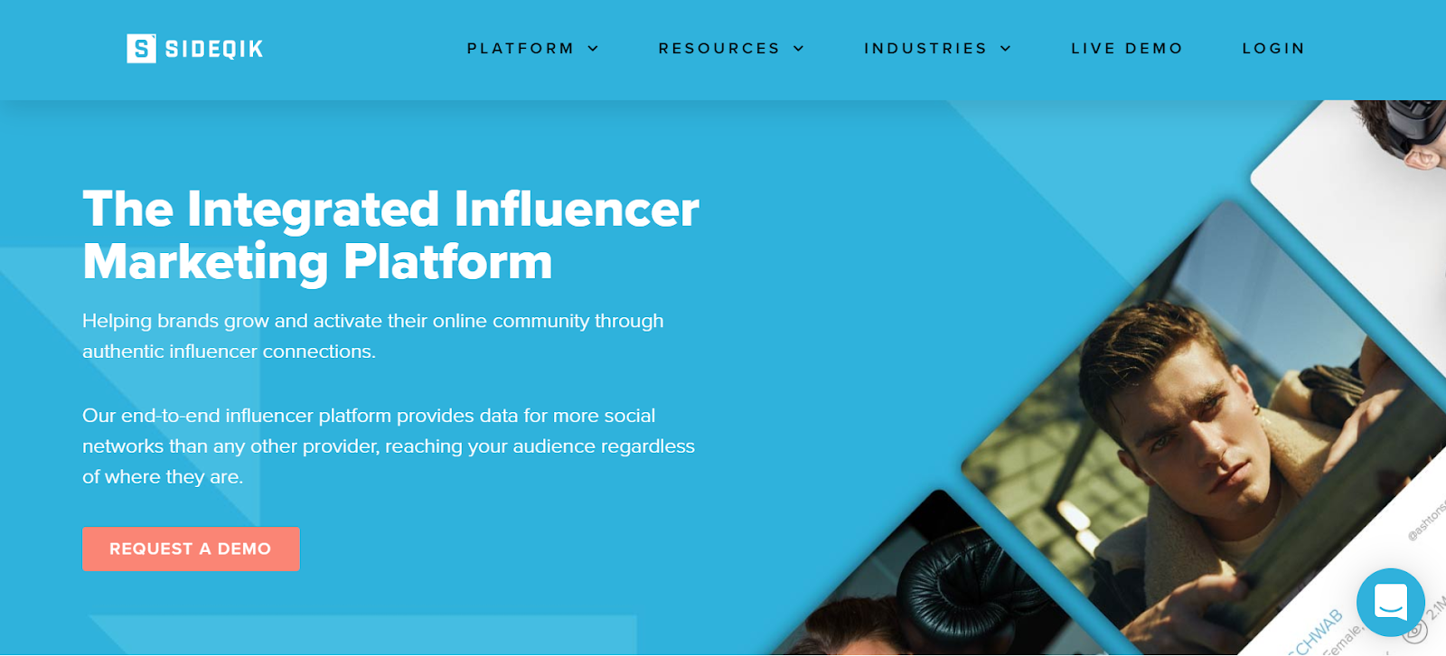 Plataforma de marketing de influencia Sideqik