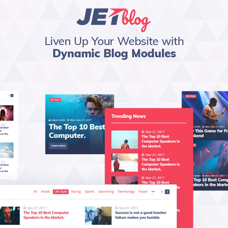 Jetblog el complemento de wordpress compatible con Elementor