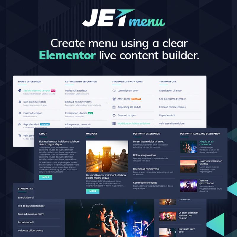 jetmenu el complemento de wordpress compatible con Elementor