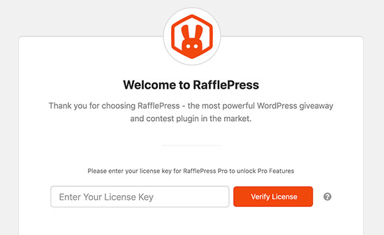 Agregar clave de licencia de RafflePress