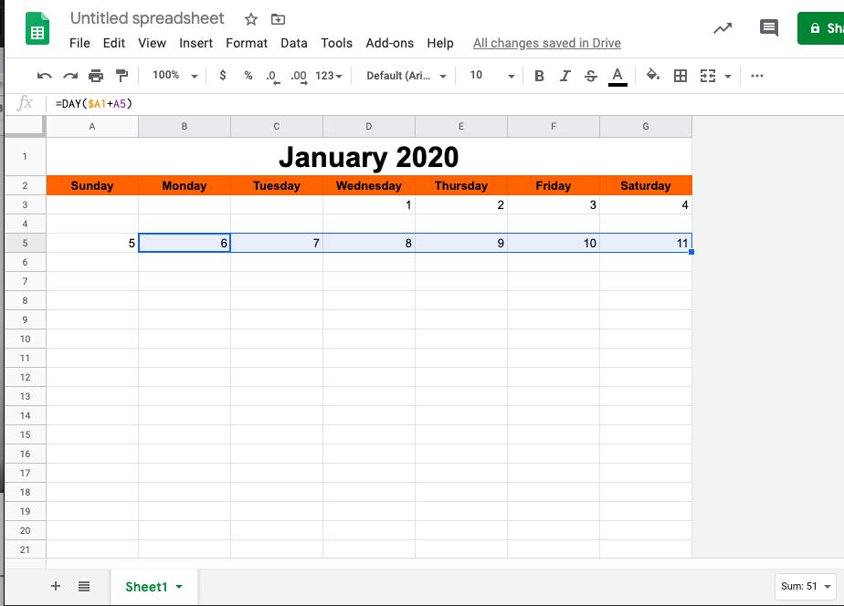 El número de días en Calendarios de Hojas de cálculo de Google