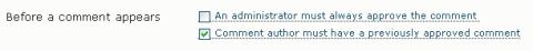 WordPress moderado primer comentario