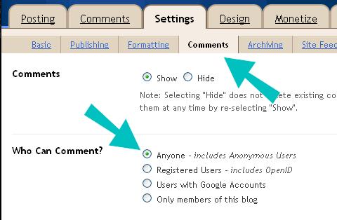 Configuración de comentarios de blogger con flechas
