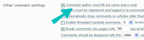 Configuración de discusión de WordPress
