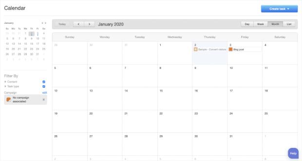 página principal del calendario editorial de hubspot