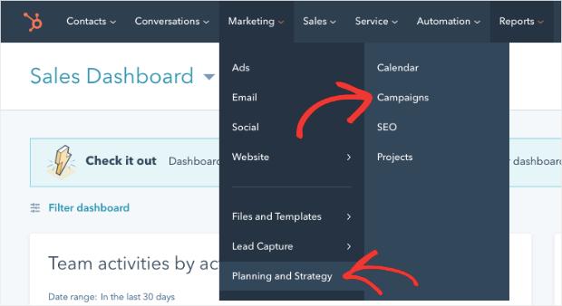 Campaña de planificación y estrategia de marketing de hubspot
