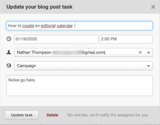 calendario editorial tarea de publicación de blog