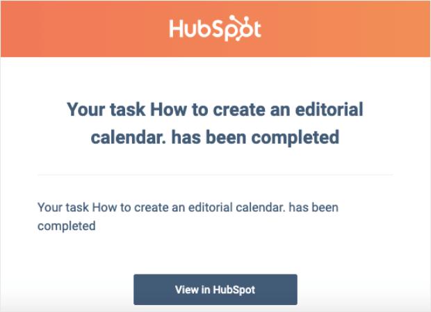 tarea de hubspot completada notificación por correo electrónico