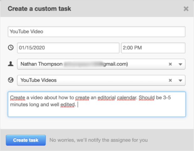 crear tareas personalizadas completar todos los campos con detalles