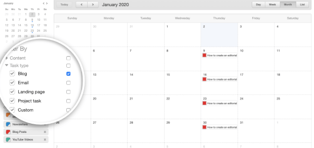 blog de tipo de tarea de calendario editorial