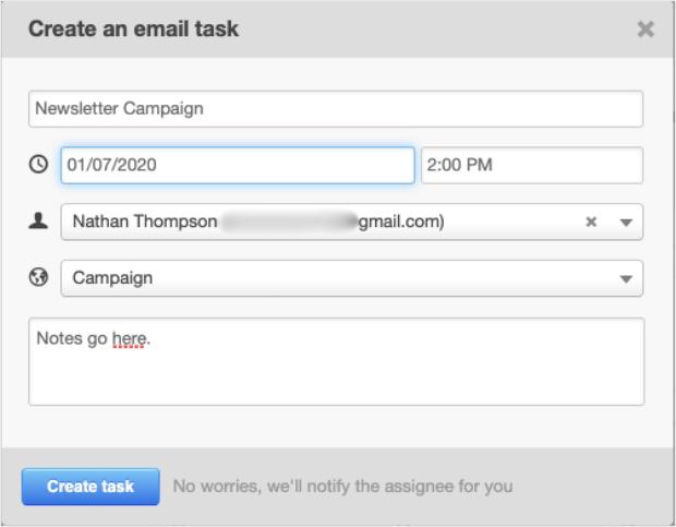calendario editorial crear tarea de correo electrónico