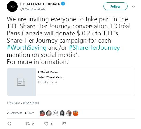 Campañas hashtag de L'Oréal paris canadá