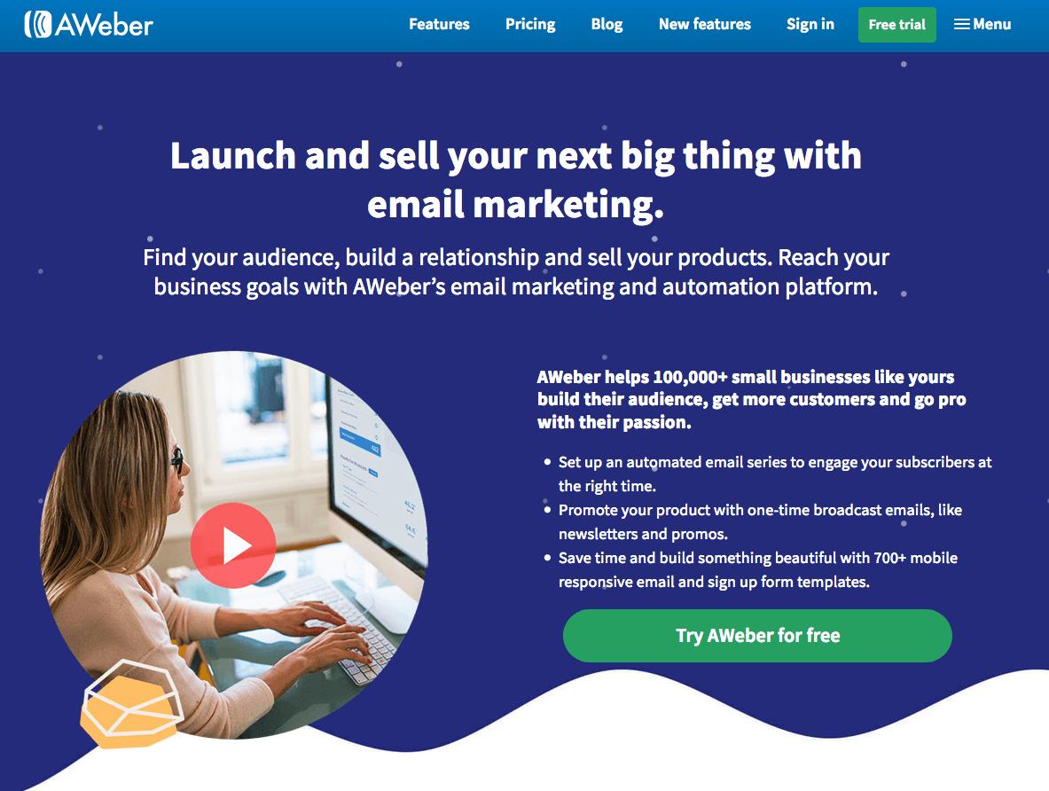 Software de marketing por correo electrónico Aweber