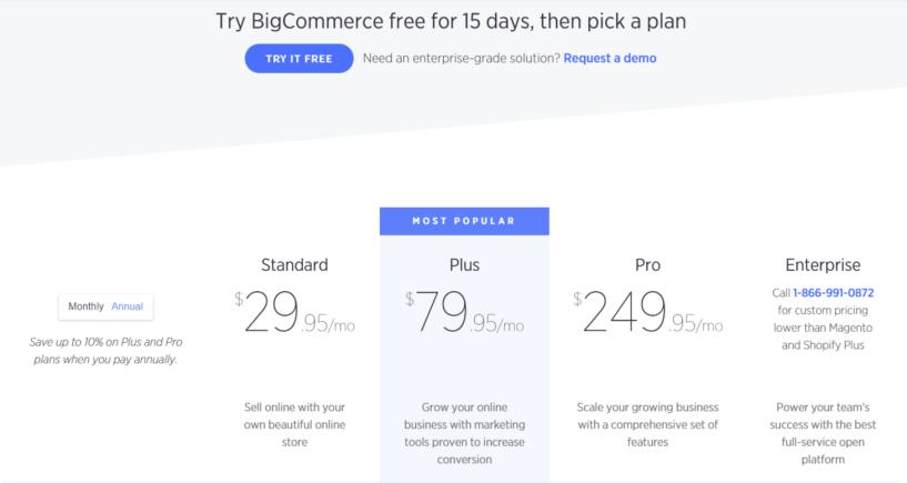 Crear una tienda de comercio electrónico rentable: precios de Bigcommerce