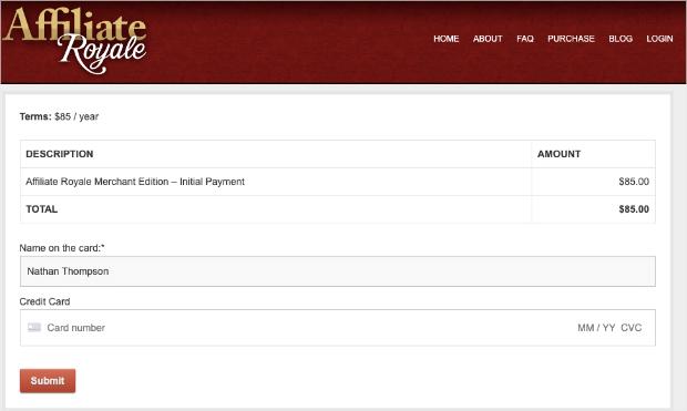 véritable page de paiement d'affiliation