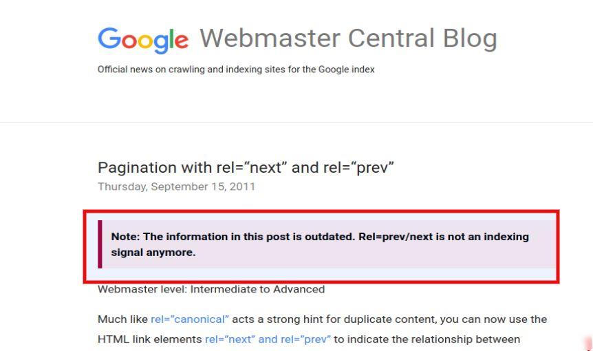 mises à jour du blog central des webmasters de google pour rel = prev / next