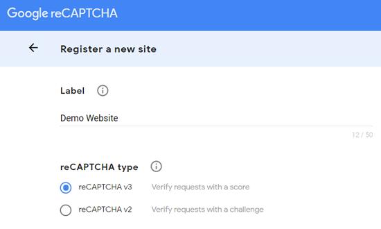 Registre um novo site para o Google reCAPTCHA