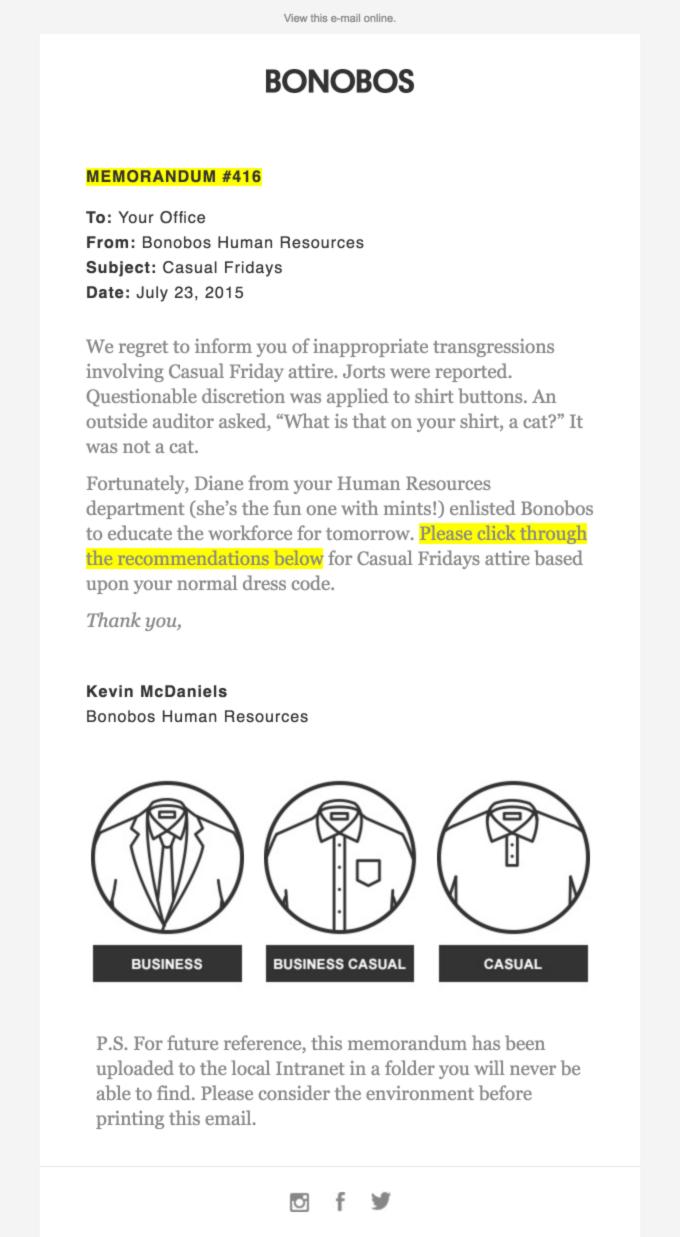 marketing por correo electrónico de bonobos