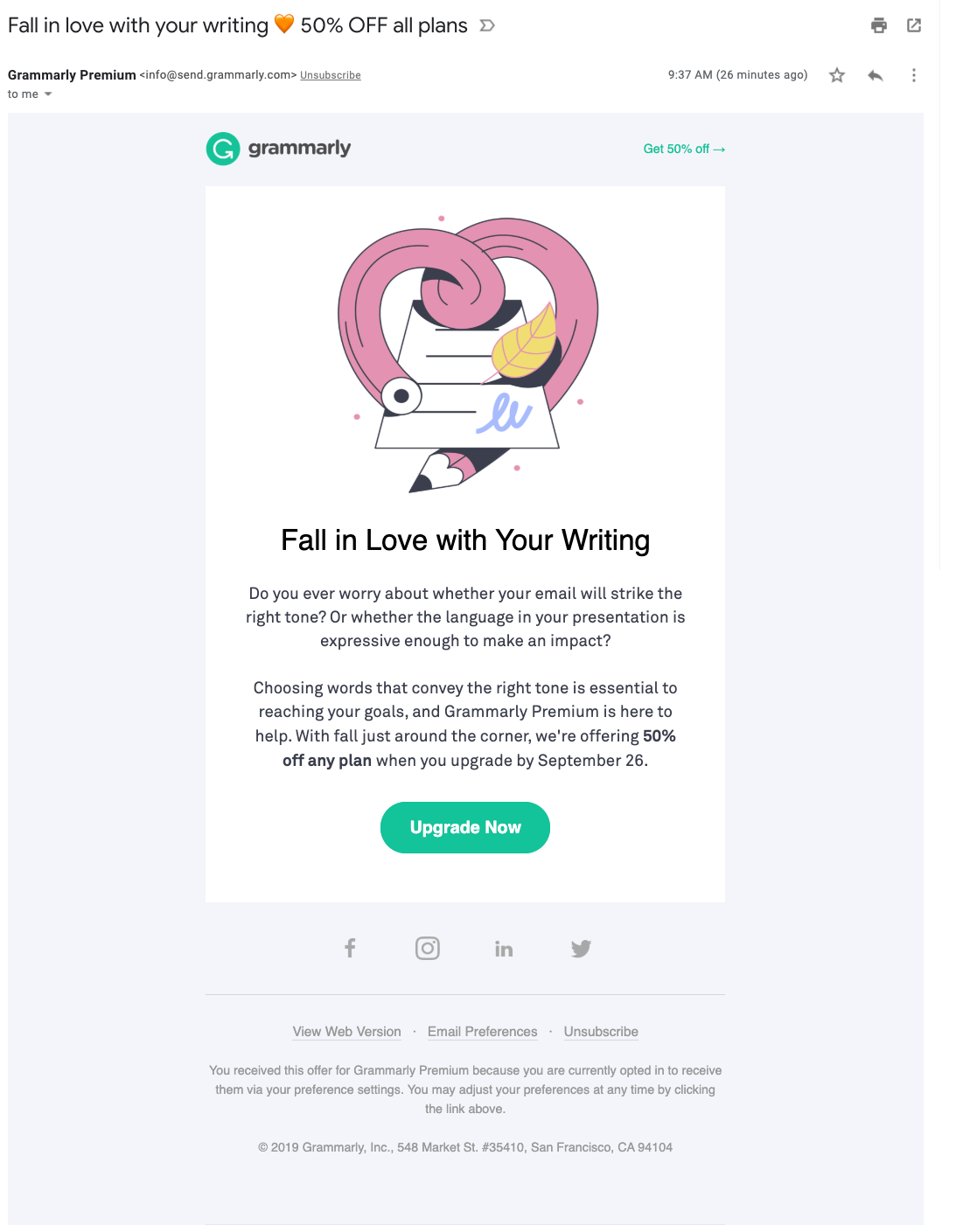 Email marketing gramatical
