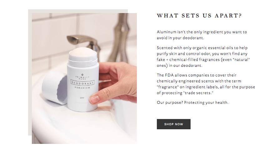 Información de la página de inicio de los resultados de la prueba de desodorante