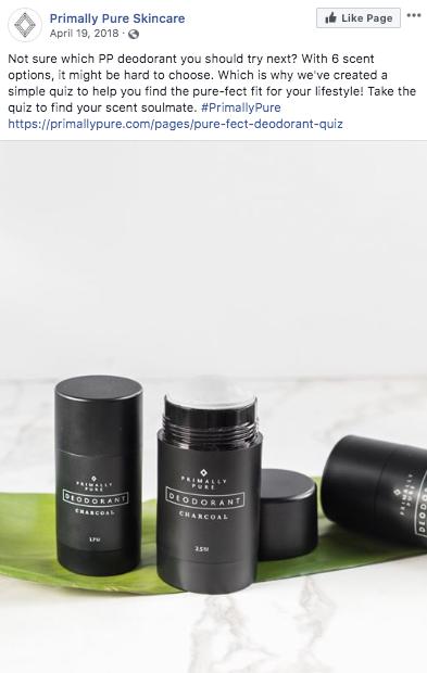 Imagen de Instagram que promueve el cuestionario de desodorante Primally Pure con desodorantes negros