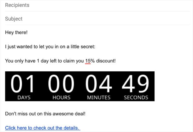 Ejemplo de temporizador de cuenta regresiva de correo electrónico en Gmail