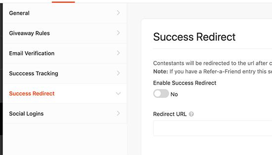 Redireccionar usuarios en caso de éxito