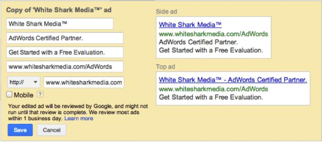 Ejemplo de lightbox para pegar palabras clave en grupos de anuncios