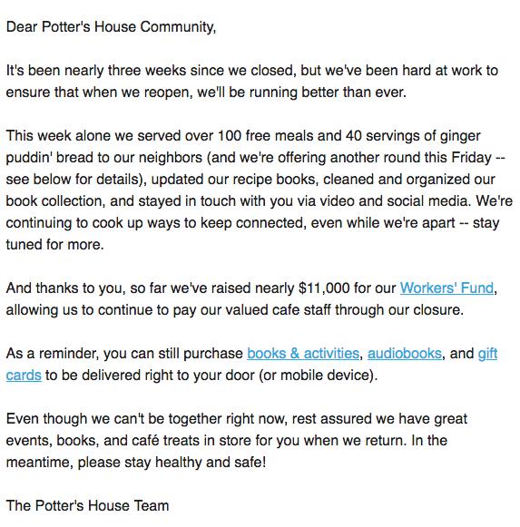 Correo electrónico de la comunidad de Potter que da un ejemplo para el marketing de contenidos en la crisis de COVID-19