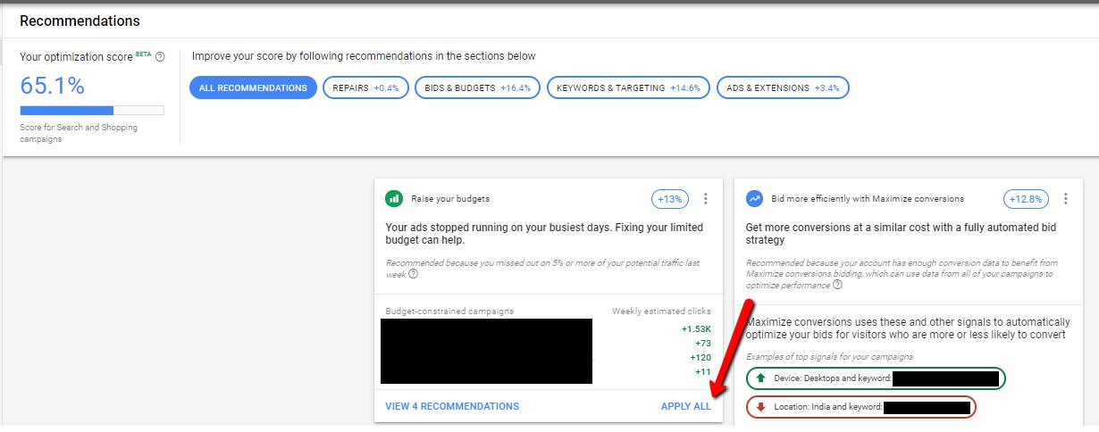 informe optiscore bajo recomendaciones de google