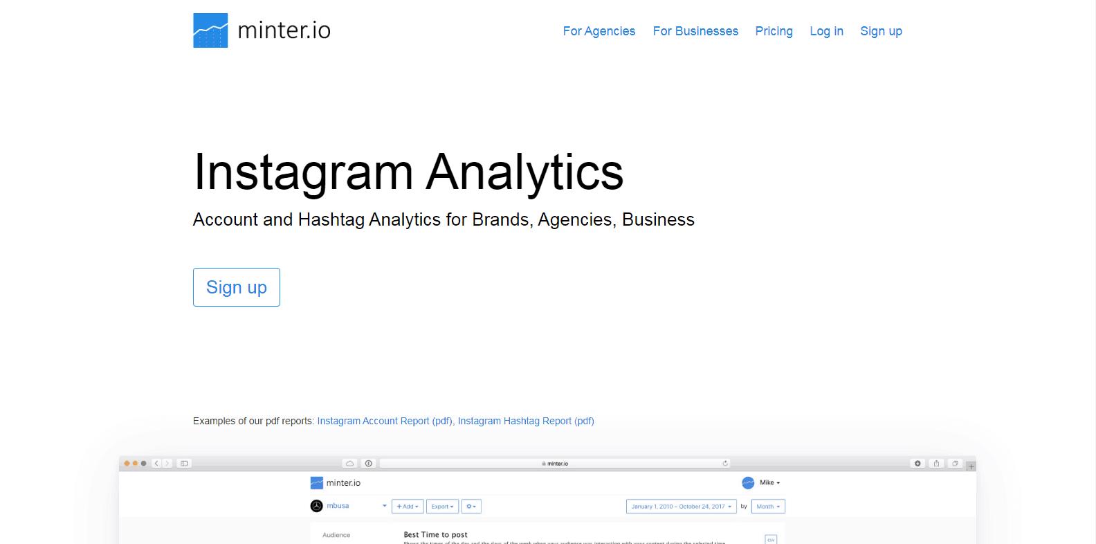 Herramientas de análisis de Instagram Minter.io
