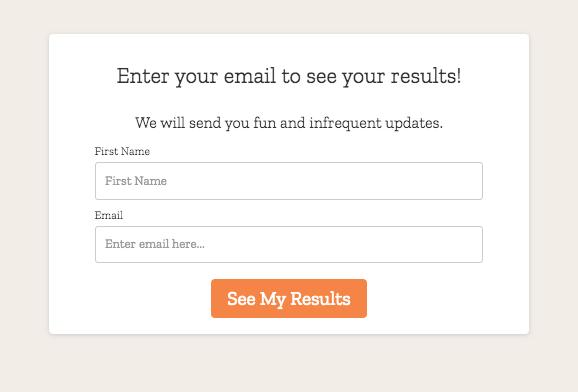 formulario de registro por correo electrónico del cuestionario