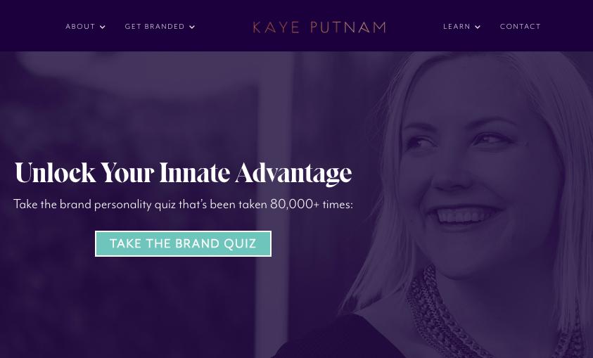 Página de inicio de Kaye Putnam con cuestionario de personalidad CTA
