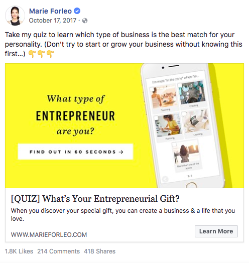 Marie Forleo Facebook publicar en ¿Qué tipo de emprendedor eres?