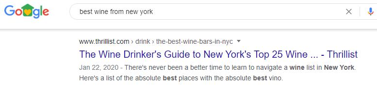 Ejemplo local de SEO Vino de Nueva York