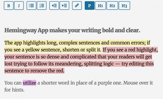 Herramienta de escritura de aplicaciones de Hemingway