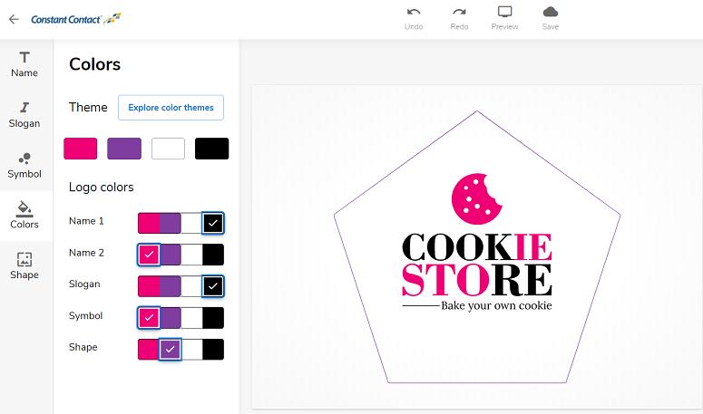 opciones de color del creador de logotipos