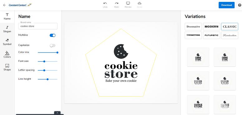Creador de logos de Constant Contact, crea logo gratis