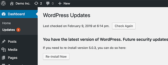 Luôn cập nhật WordPress