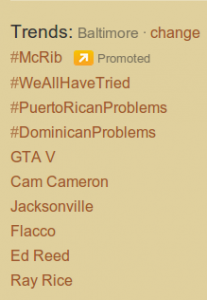 Twitter  Tendencias Baltimore Oct 25, 2011