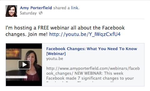 breve actualización de facebook
