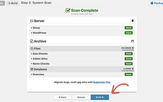 Compile el paquete Duplicator para cambiar a un nuevo nombre de dominio